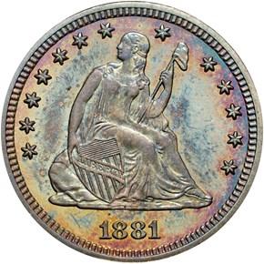 1881 25C PF obverse