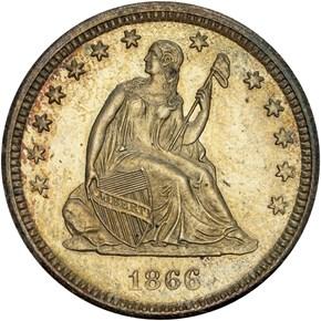 1866 S MOTTO 25C MS obverse