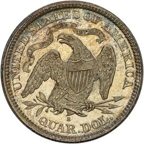 1866 S MOTTO 25C MS reverse