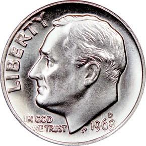 1969 D 10C MS obverse