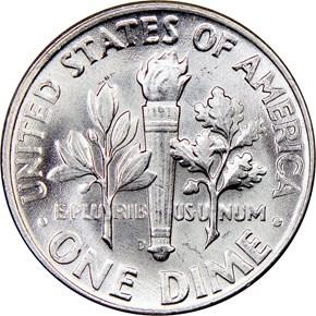 1951 D 10C MS reverse