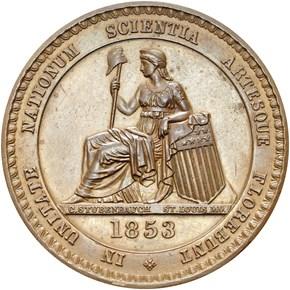 1853 NY HK-5 CRYSTAL PALACE SC$1 MS obverse