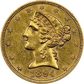1894 S $5 MS obverse