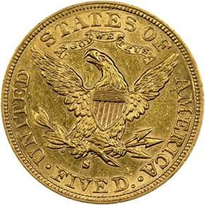 1894 S $5 MS reverse
