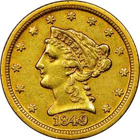 1849 D $2.5 MS obverse