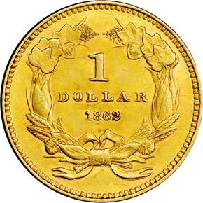 1862 G$1 MS reverse