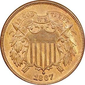 1867 2C MS obverse