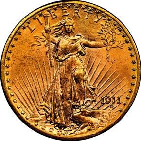 1911 D $20 MS obverse