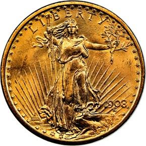 1908 NO MOTTO $20 MS obverse