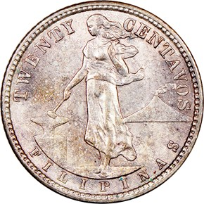1907 S USA-PHIL 20C MS obverse