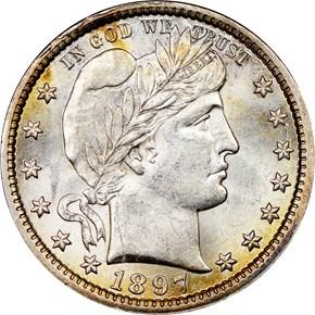 1897 25C MS obverse