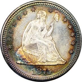 1875 25C MS obverse
