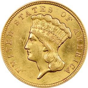 1857 $3 MS obverse