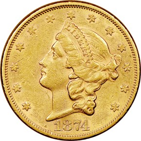 1874 S $20 MS obverse