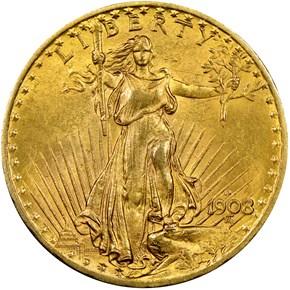 1908 D NO MOTTO $20 MS obverse