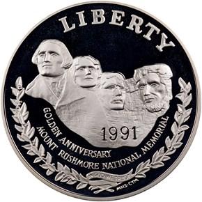 1991 S MOUNT RUSHMORE S$1 PF obverse