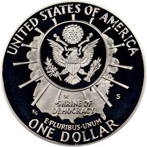 1991 S MOUNT RUSHMORE S$1 PF reverse