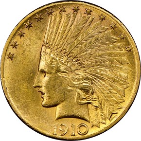 1910 S $10 MS obverse