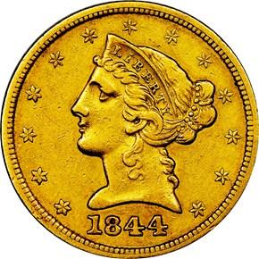 1844 $5 MS obverse