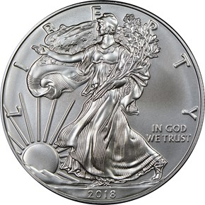 2018 W Eagle Burnished Silver Eagle S$1 MS obverse