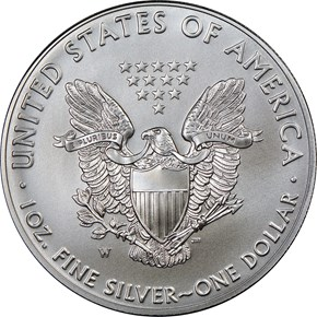 2018 W Eagle Burnished Silver Eagle S$1 MS reverse