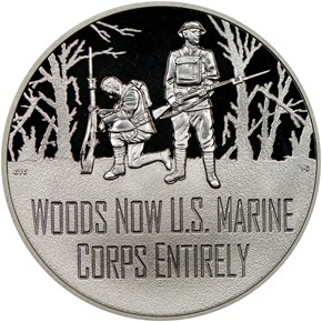 2018 S Silver WWI - U. S. Marine Corps MEDAL PF obverse