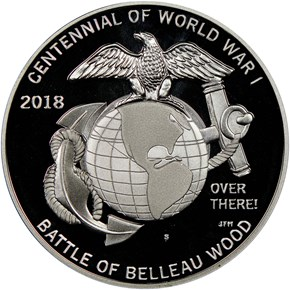 2018 S Silver WWI - U. S. Marine Corps MEDAL PF reverse