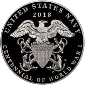 2018 P Silver WWI - U. S. Navy MEDAL PF reverse