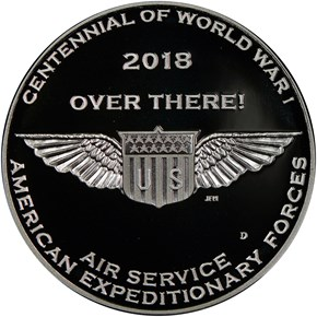 2018 D Silver WWI - U. S. Air Service MEDAL PF reverse