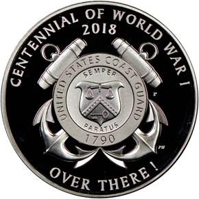 2018 P Silver WWI - U. S. Coast Guard MEDAL PF reverse