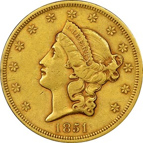 1851 $20 MS obverse