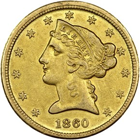 1860 D $5 MS obverse
