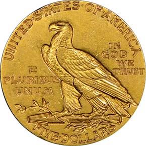 1911 $5 MS reverse