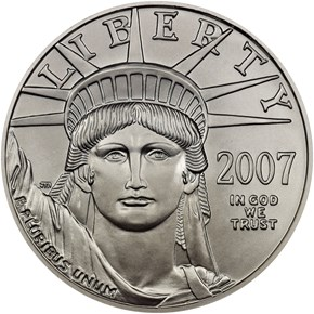 2007 W EAGLE BURNISHED PLATINUM EAGLE P$100 MS obverse
