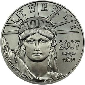 2007 W EAGLE BURNISHED PLATINUM EAGLE P$50 MS obverse