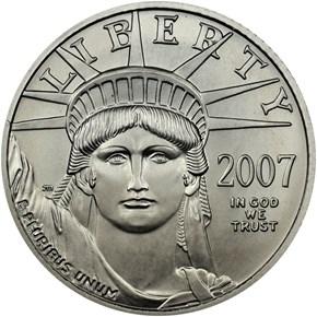 2007 W EAGLE BURNISHED PLATINUM EAGLE P$25 MS obverse