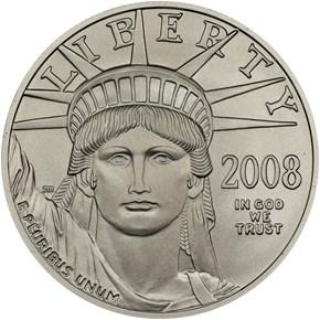2008 W EAGLE BURNISHED PLATINUM EAGLE P$100 MS obverse