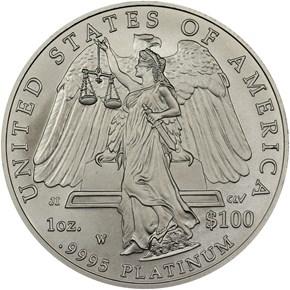 2008 W EAGLE BURNISHED PLATINUM EAGLE P$100 MS reverse