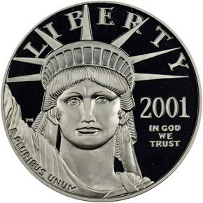 2001 W EAGLE P$100 PF obverse