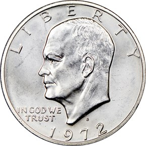 1972 S SILVER $1 MS obverse