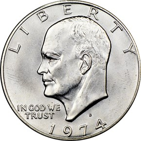 1974 S SILVER $1 MS obverse