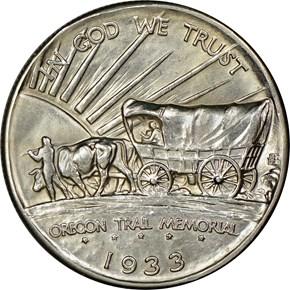 1933 D OREGON TRAIL 50C MS reverse