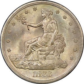 1873 S T$1 MS obverse
