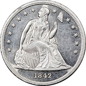 1842 $1 MS obverse