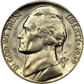 1939 D REV OF 40 5C MS obverse