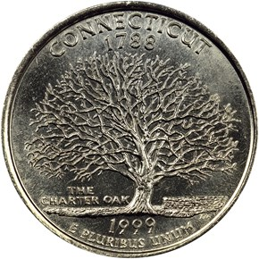 1999 P CONNECTICUT 25C MS reverse