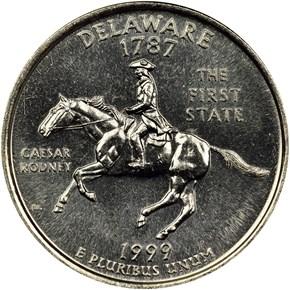 1999 P DELAWARE 25C MS reverse