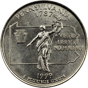 1999 D PENNSYLVANIA 25C MS reverse