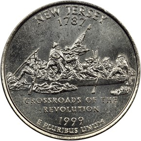 1999 P NEW JERSEY 25C MS reverse