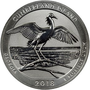 2018 S Silver Cumberland Island 25C RP obverse